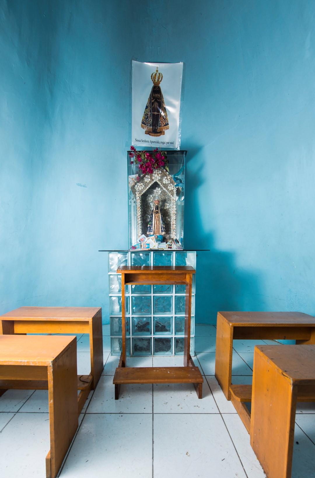 Detalhe interno da capela. Foto: Letícia Akemi / Gazeta do Povo.