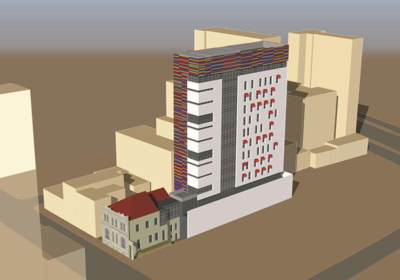 A perspectiva do prédio, de outro ângulo. Imagem: Meta Arquitetura/Divulgação