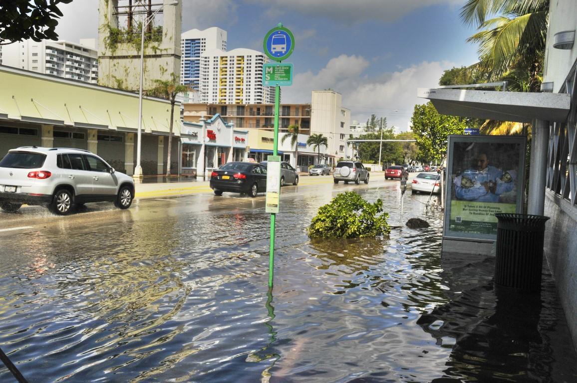MIAMI SOUTH BEACH - FLORIDA OCTOBER 28: Miami South beach street flood aftermath of Hurricane Sandy on october 28 2012 in Miami South Beach