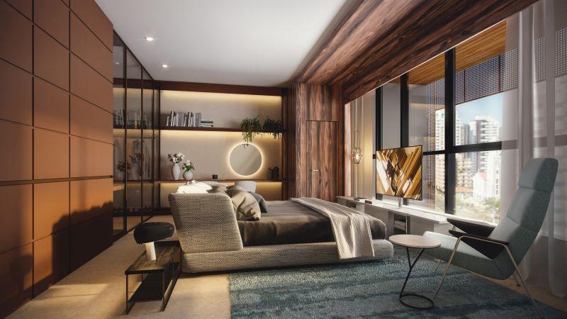 Projeto de quarto para apartamento do ROC Batel, novo projeto da Laguna. Foto: Divulgação.