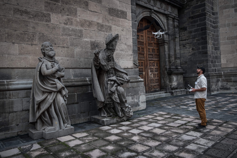 Catedral do México foi fotografada por drones para montagem 3D no Open Heritage. Foto: divulgação/CyArt