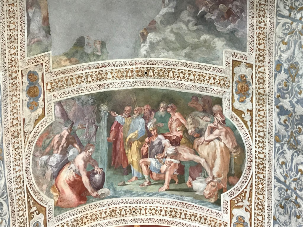 Frescoes above the marble staircase which Catholic tradition holds Jesus climbed at his judgment before the Roman prefect Pontius Pilate, in Rome, April 8, 2019. The steps, now in a sanctuary across from the Basilica of St. John Lateran, were purportedly brought to Rome in 326 A.D. (Elisabetta Povoledo/The New York Times)