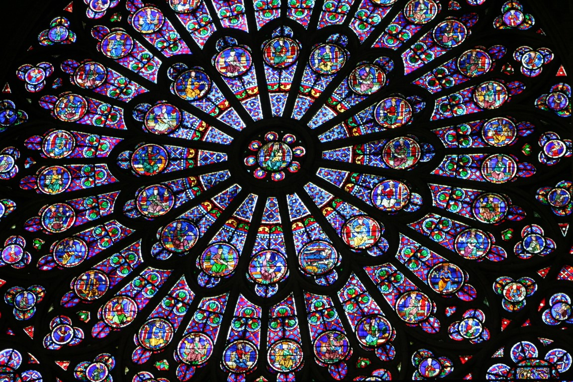 Rose Window at Notre Dame Cathedral in Paris, France.
