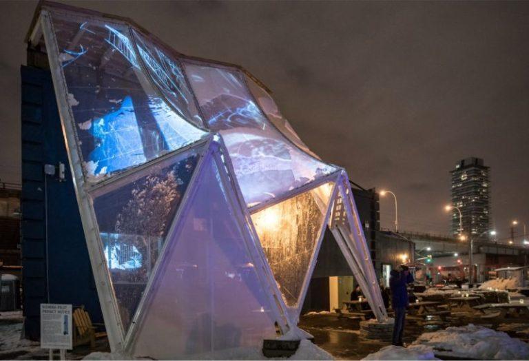 Arquitetos criam capa de chuva para prédios que protege pedestres do frio e da neve