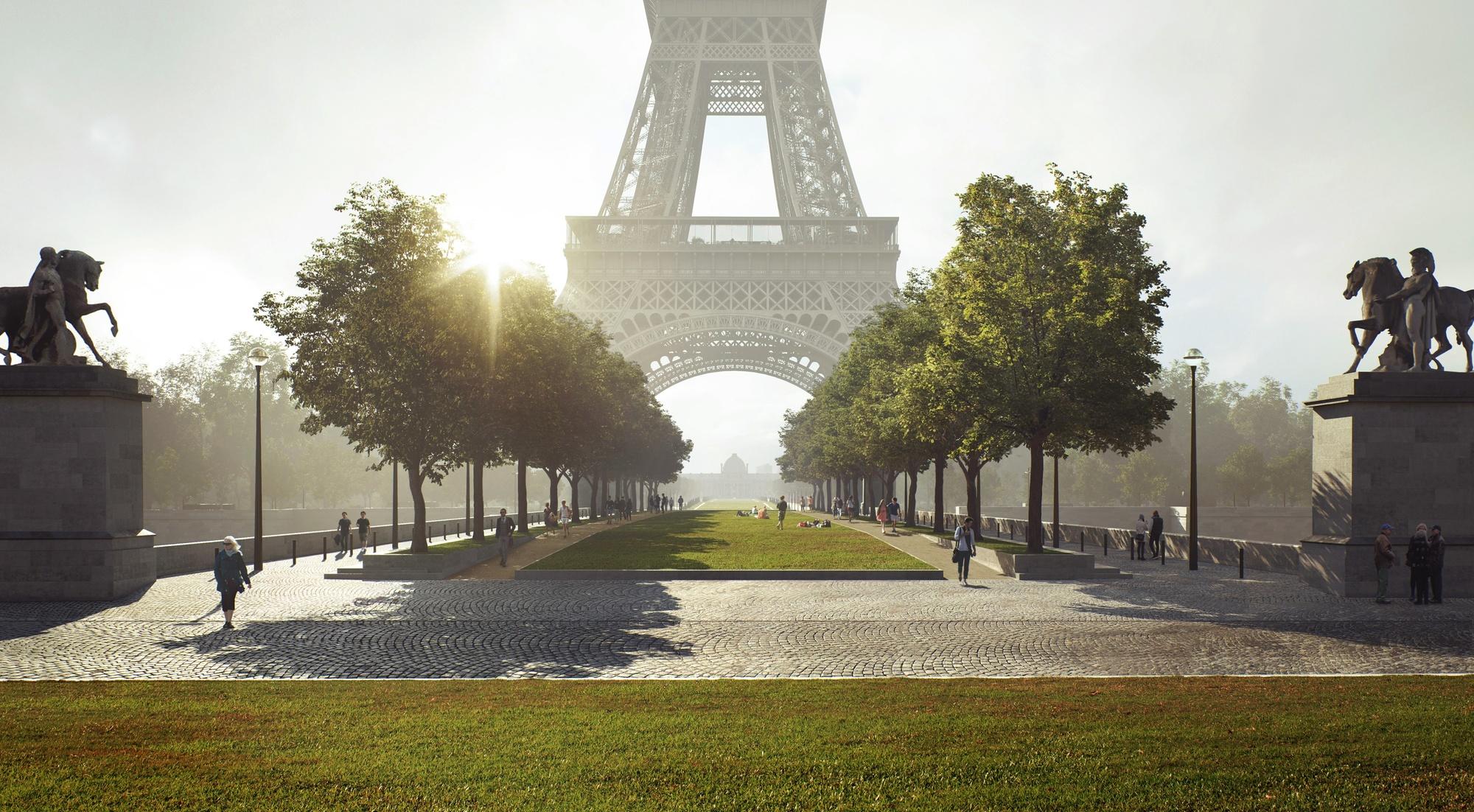 Pont d'Iena, ponto alto da transformação prevista no projeto. Foto: divulgação/GP+B