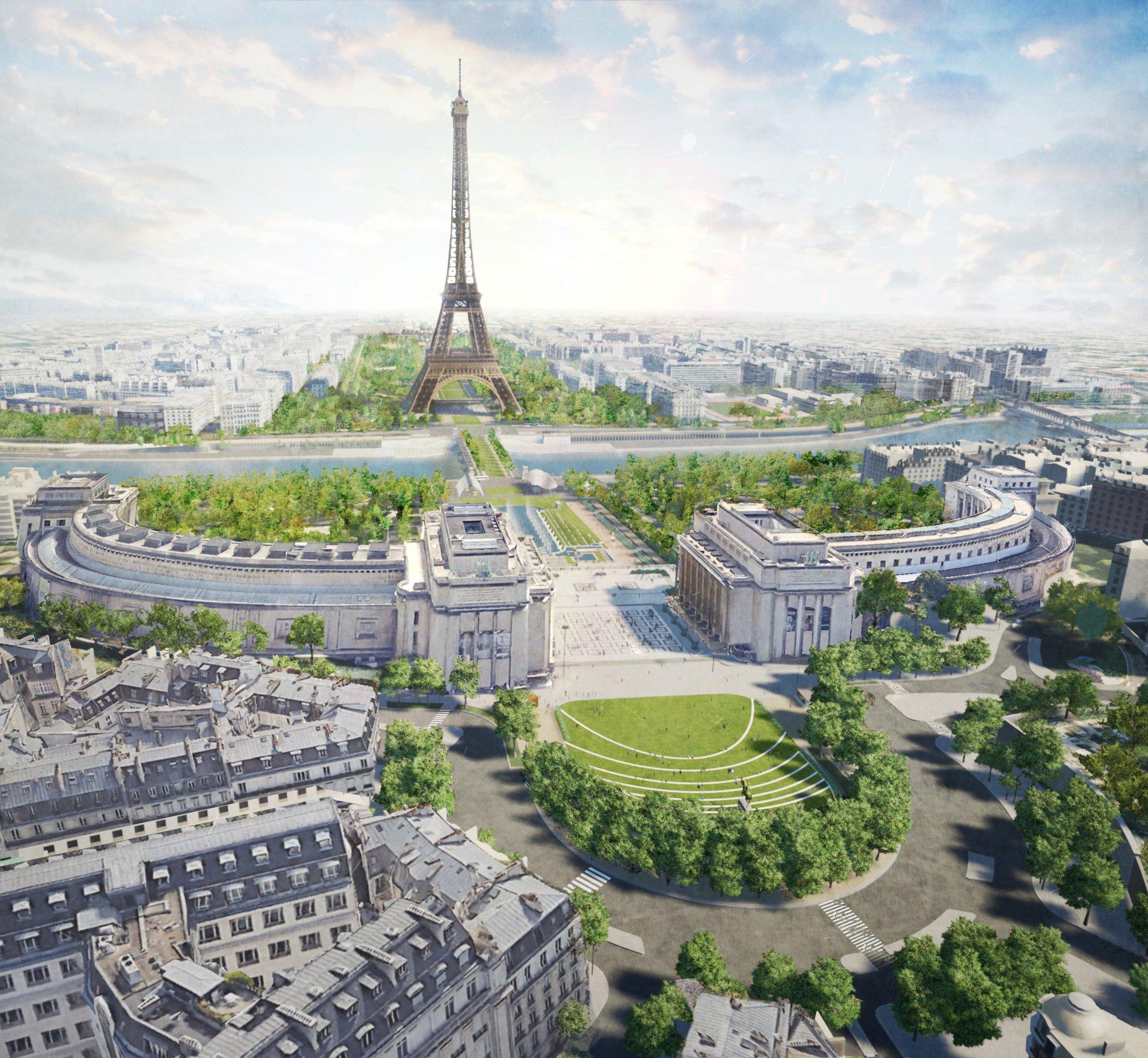 Projeção da nova vista da região que concentra a Torre Eiffel e outros pontos turísticos satélites. Foto: divulgação/GP+B