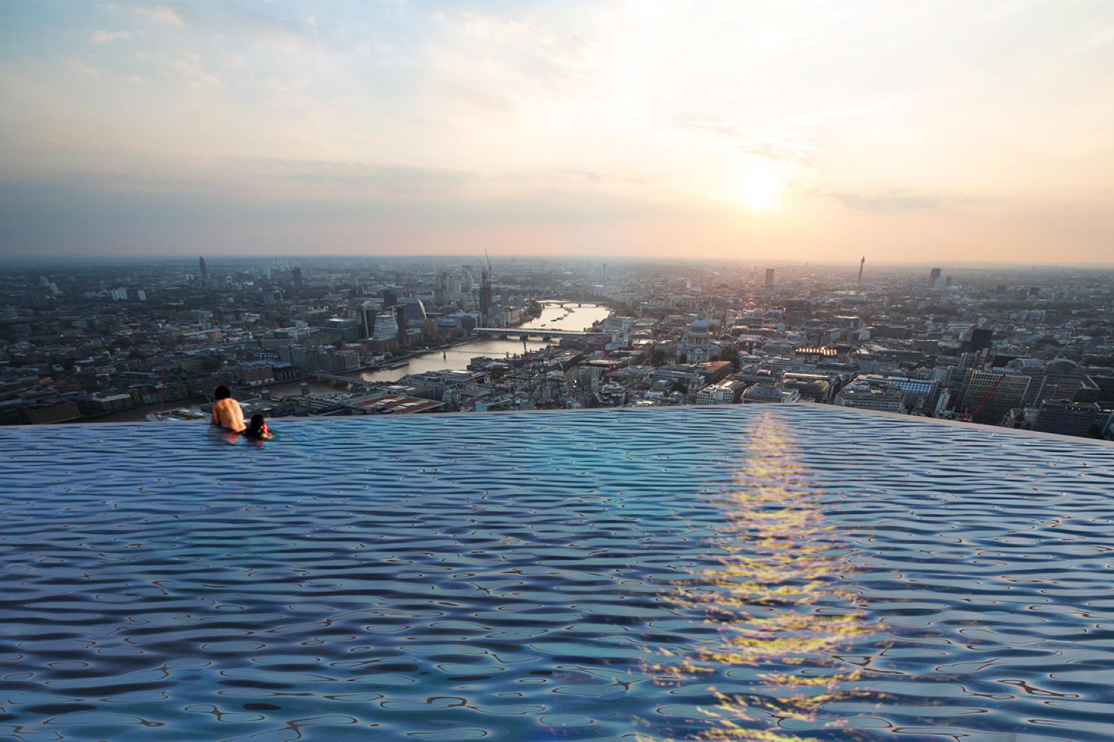 Piscina será construída no 55° andar de um edifício em Londres e terá vista privilegiada da cidade. Foto: Compass Pools / Divulgação