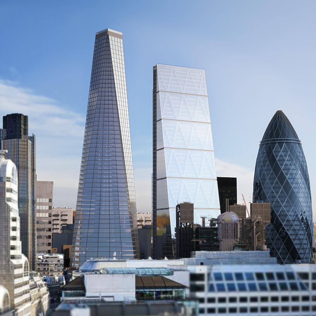 Visual do edifício em meio a Londres quando concluído. Foto: Compass Pools / Divulgação