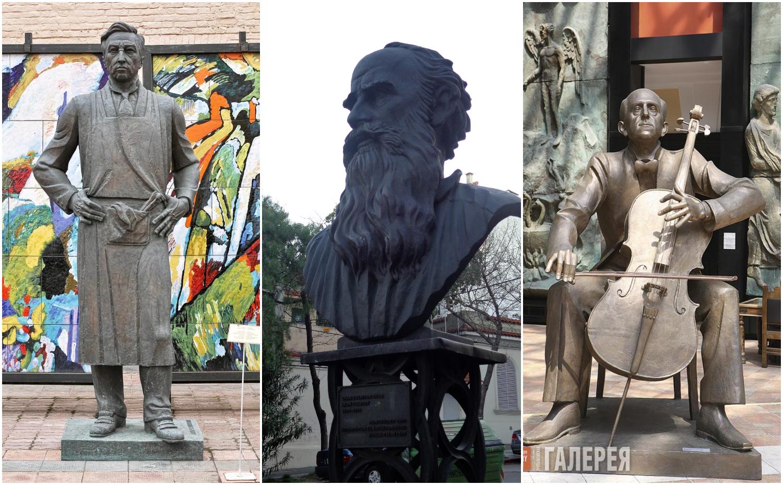"""Tsereteli já tem no portfólio estátuas dos três artistas. Nas fotos, respectivamente, Kandisnky em Moscou, Tolstói em Montevidéu e Rostropovic, da coleção """"Contemporary"""". Fotos: divulgação"""