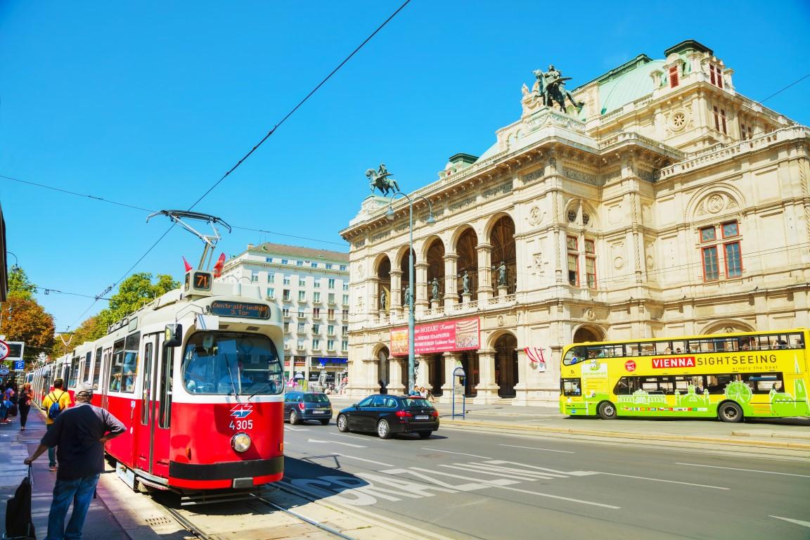 VIENNA - AUGUST 30: Old fashioned tram on August 30, 2017 in Vienna, Austria. Vienna has an extensive train and bus network.