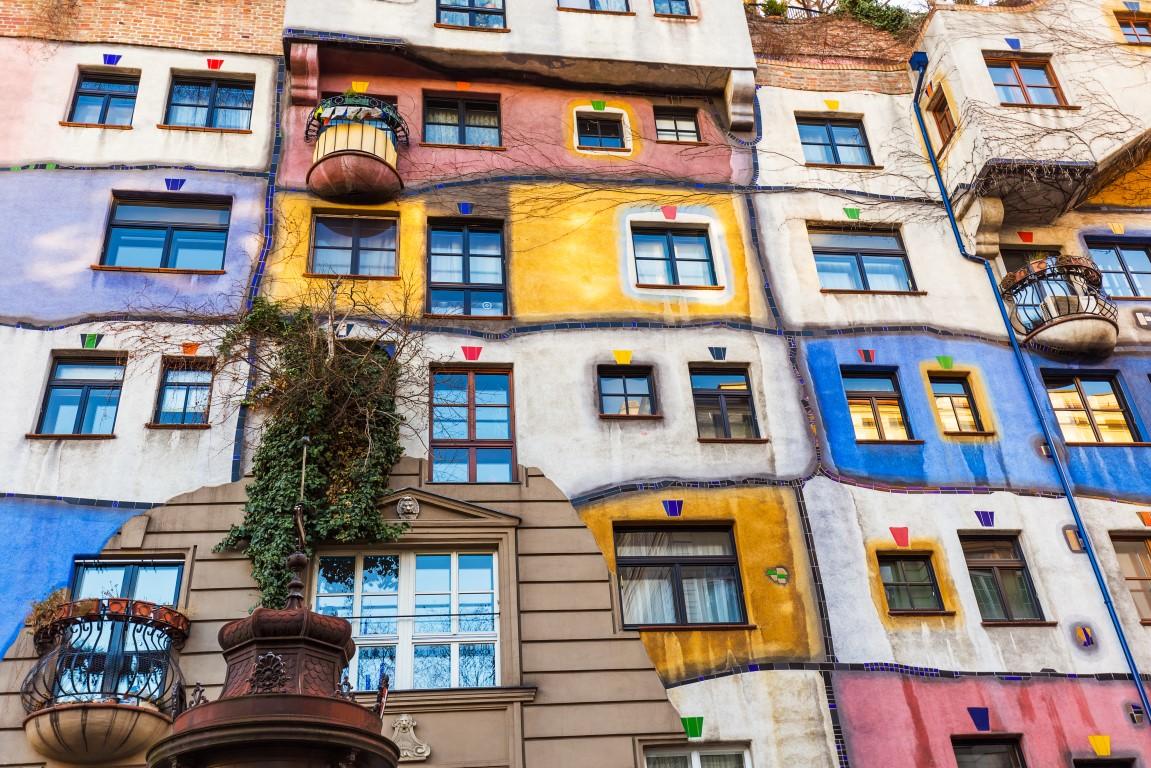 Vienna, Austria - December 29, 2016: Modern architecture Hundertwasser house in Vienna Austria.
