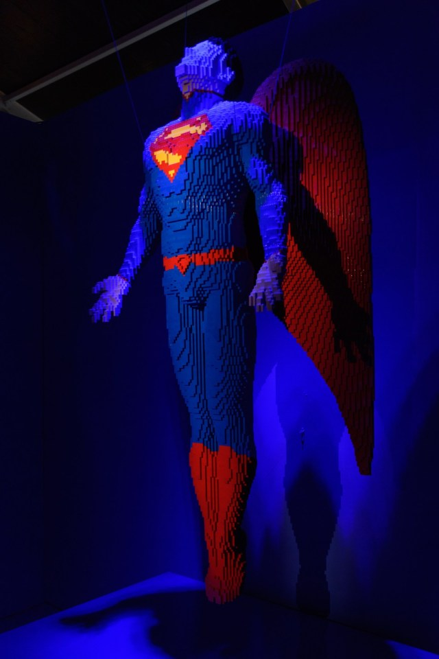 THE ART OF THE BRICK: DC SUPER HEROES - Artist Nathan Sawaya returns to London with the world's largest LEGO exhibition, inspired by Batman, Superman, and Wonder Woman. The exhibition opens, in a purpose-built marquee in Doon Street car park, Upper Ground, on the South Bank. Picture shows: Angel (Superman)