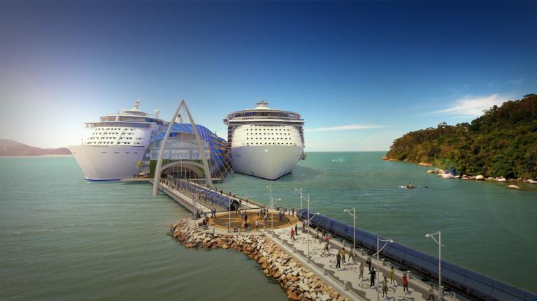 BC Port: primeiro porto para cruzeiros de Balneário Camboriú terá dimensões monumentais e projeto luxuoso. Imagens: Divulgação