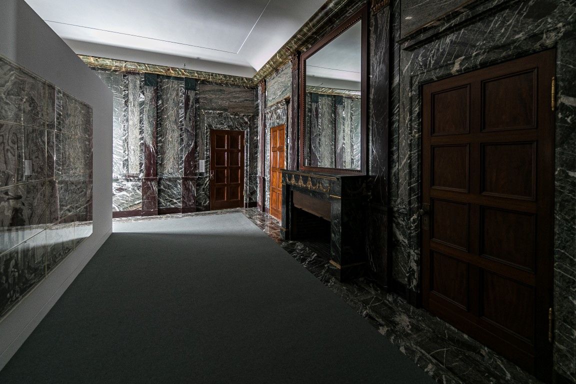 An area of the marbled offices that once belonged to F.W. Woolworth, which architect Kang Chang restored for his firm Kang Modern, in New York, Aug. 9, 2019. Secret rooms are popping up in workplaces. (Jeenah Moon/The New York Times)