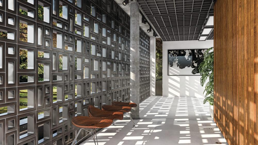 Ambiente com aplicação do Cobogó Elemento. Foto: Roca Cerâmica/ Reprodução