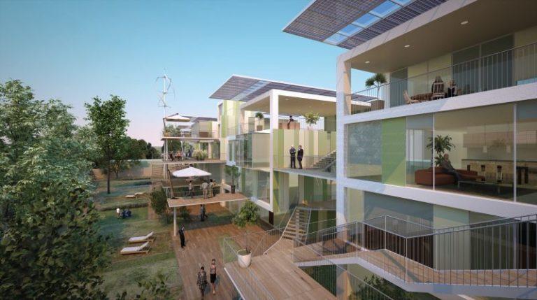 O projeto Casa 110K, de Cucinella, é uma moradia pré-fabricada, low cost, com zero emissão de Co², construída com materiais inovadores e fontes renováveis. Foto: Divulgação