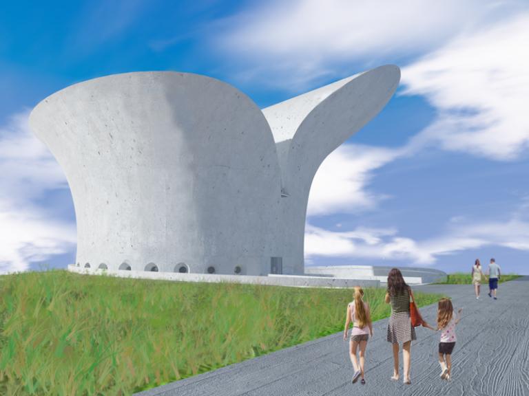 """Museu da Bíblia, coatoria de Oscar Niemeyer e Paulo Sérgio Niemeyer, funcionará como complexo cultural. Estrutura é """"síntese da obra de Niemeyer"""". Imagem: reprodução/Instituto Niemeyer"""