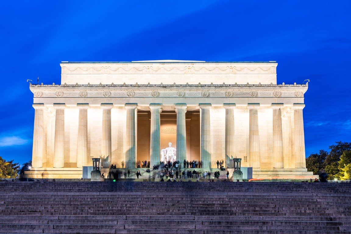 Lincoln Memorial building in Washington DC USA at night sunset.