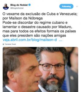 É um vexame barrar Maduro e Cuba do baile democrático brasileiro?