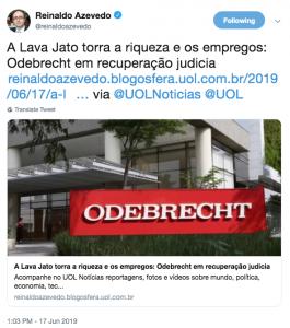 """""""Jornalistas"""" culpam Lava Jato por perda de empregos na Odebrecht"""