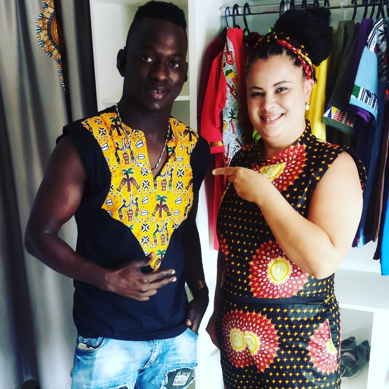 Edna e o estilista senegalês Abdou N'diaye. Foto: acervo pessoal Edna Nunes.