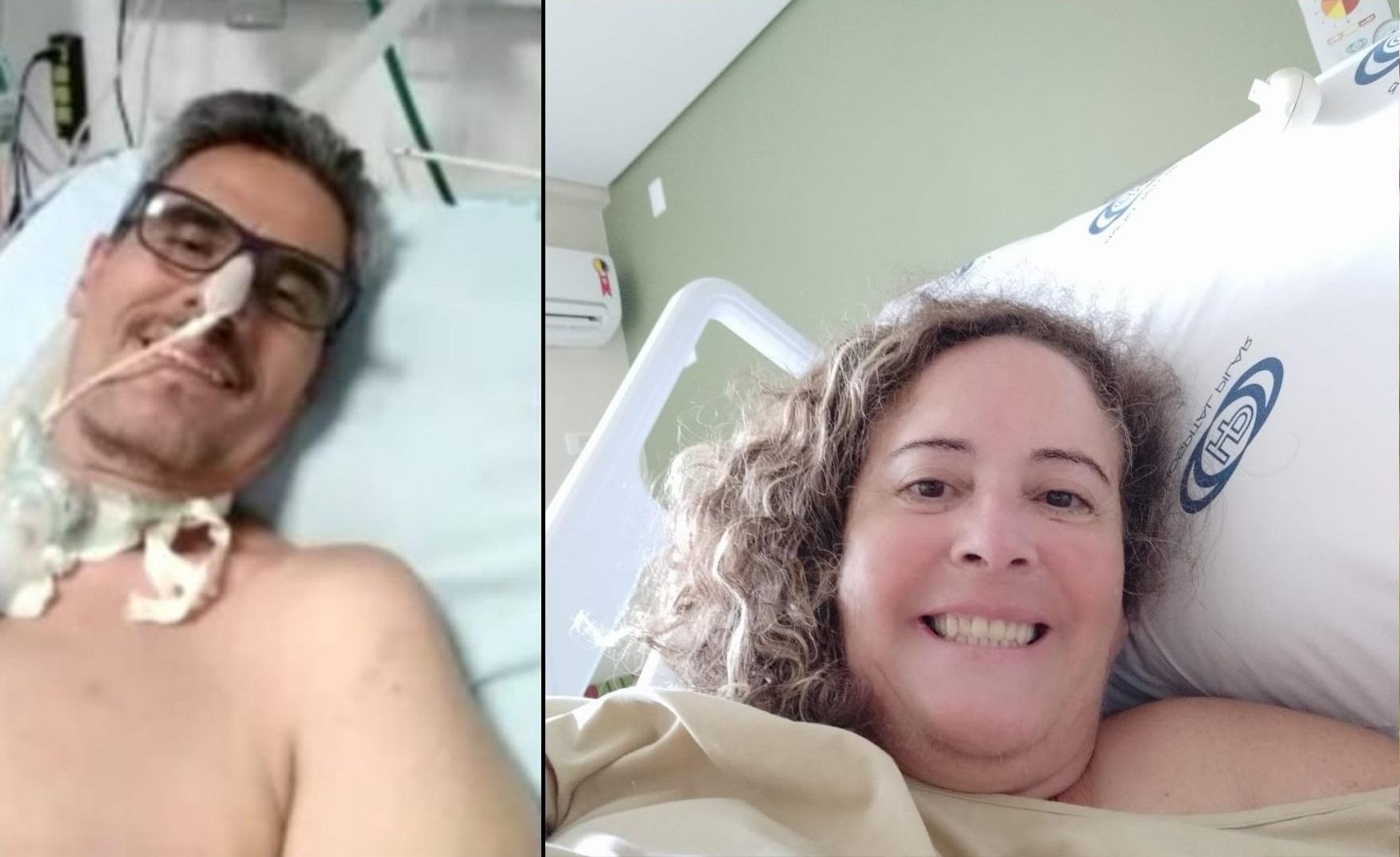 Giovani passou 32 dias na Unidade de Terapia Intensiva (UTI), enquanto Rosangela permaneceu 20 dias internada. Fotos: Arquivo pessoal