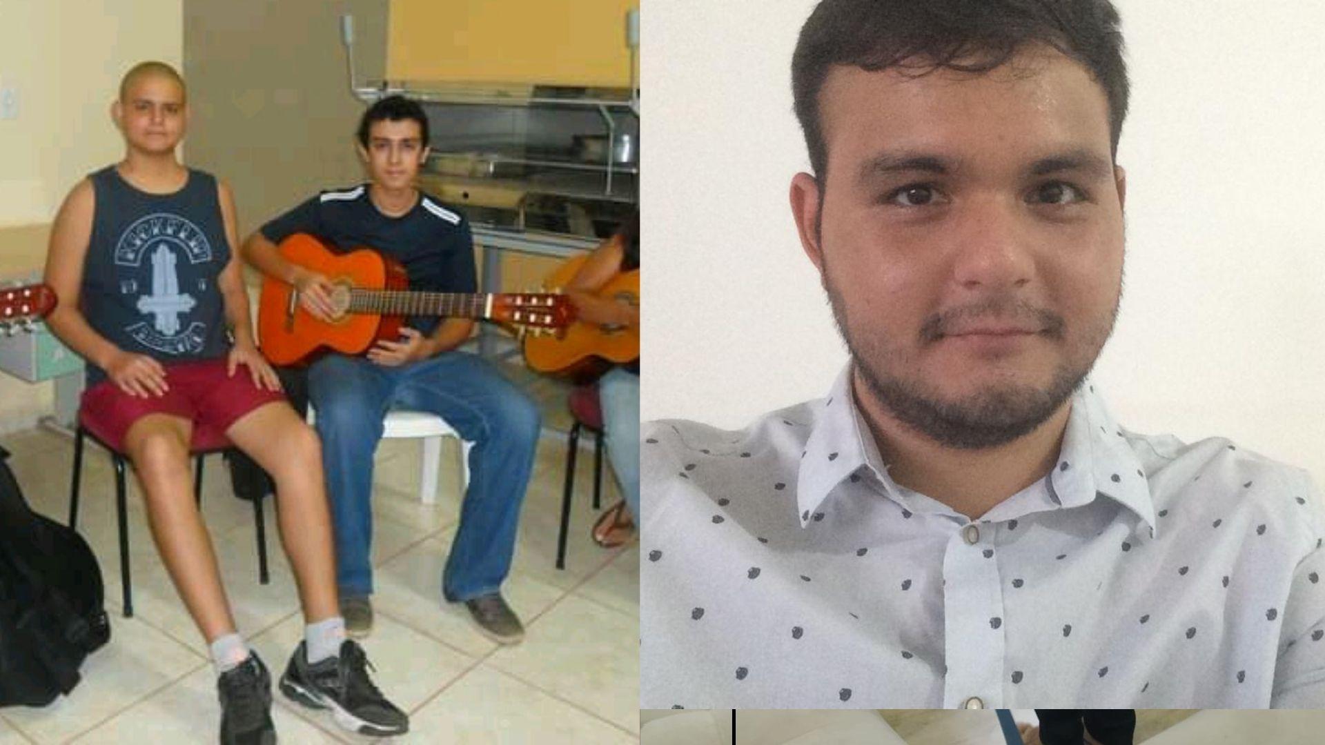 Daniel Sales de Almeida recebeu ajuda do Caaf durante o tratamento da leucemia e frequentou o curso de violão. Fotos: Arquivo Pessoal