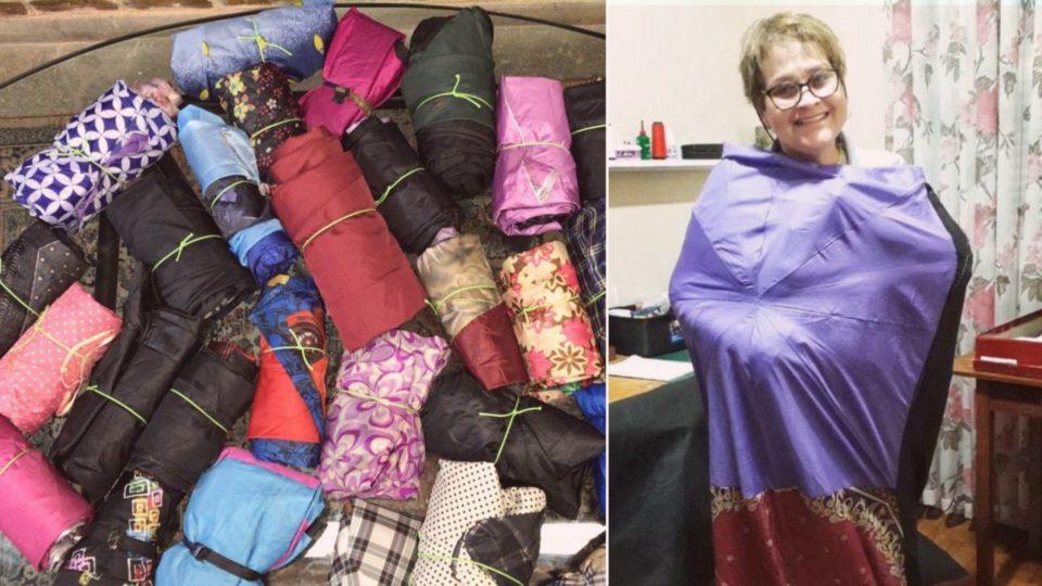 Os sacos de dormir ferecem uma oportunidade para que essas pessoas tenham a noite aquecida onde estiverem.
