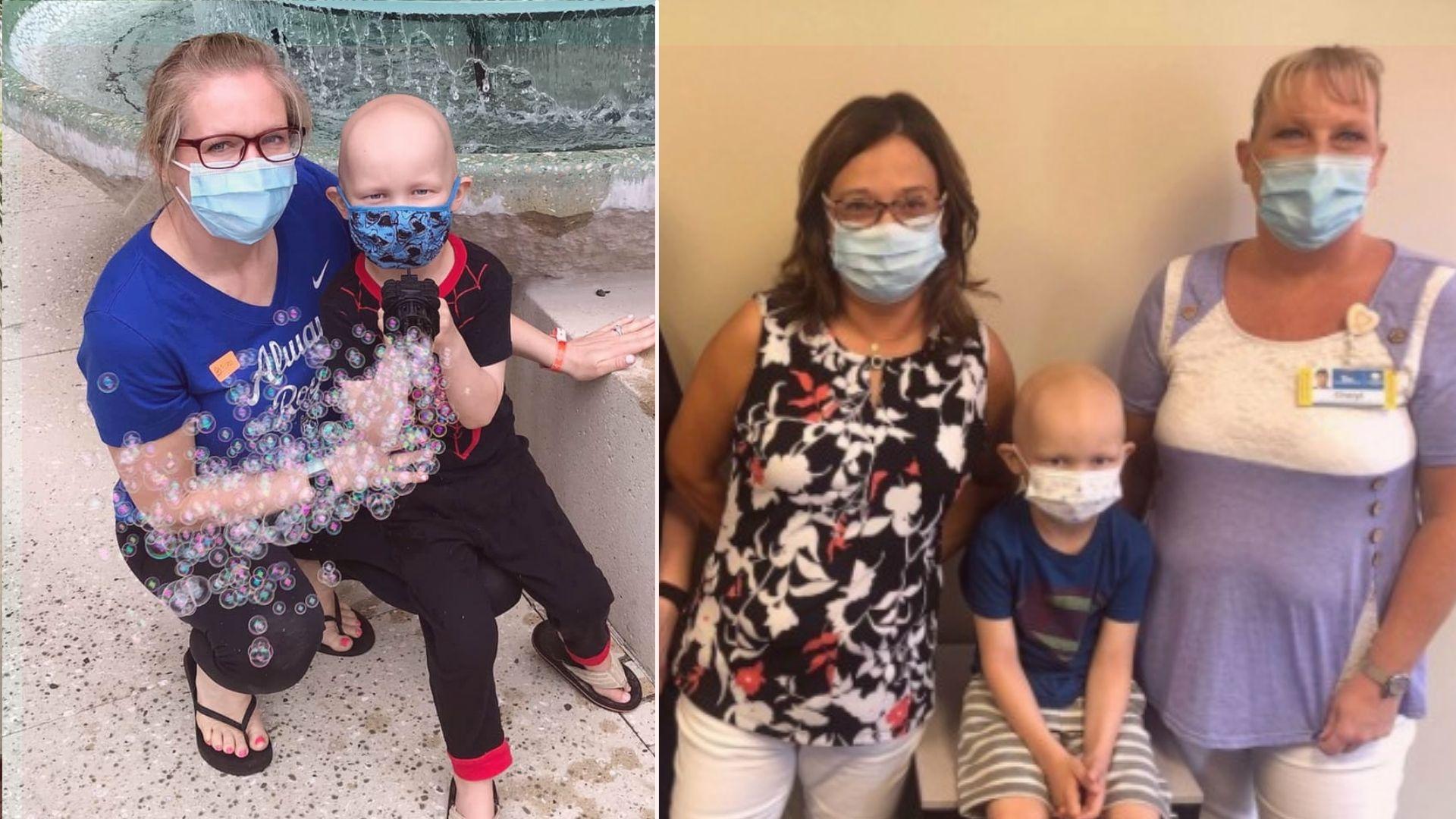 Liz e o pequeno Meyer conheceram Johnna Schindlbeck em um encontro emocionante, no dia 13 de julho. Fotos: Facebook/Prayers for Meyer