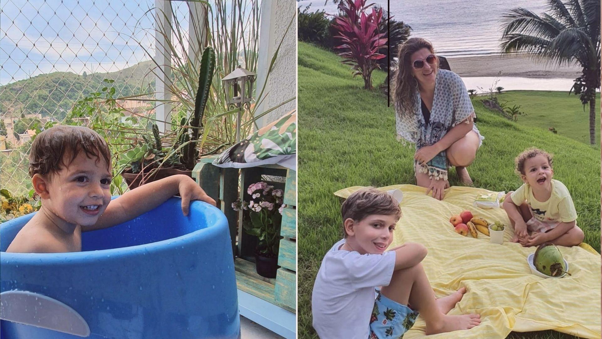 Reutilizar a água do banho e passar tempo em contato com a natureza são algumas das atividades que fazem os pequenos Benjamin e Theo valorizarem o meio ambiente. Créditos: Arquivo pessoal/Priscila Correia