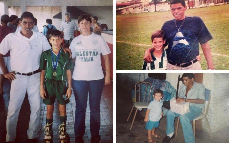 Na primeira foto, à esquerda, Canesin ao lado do pai Airton e da mãe Regina. Crédito: arquivo pessoal.