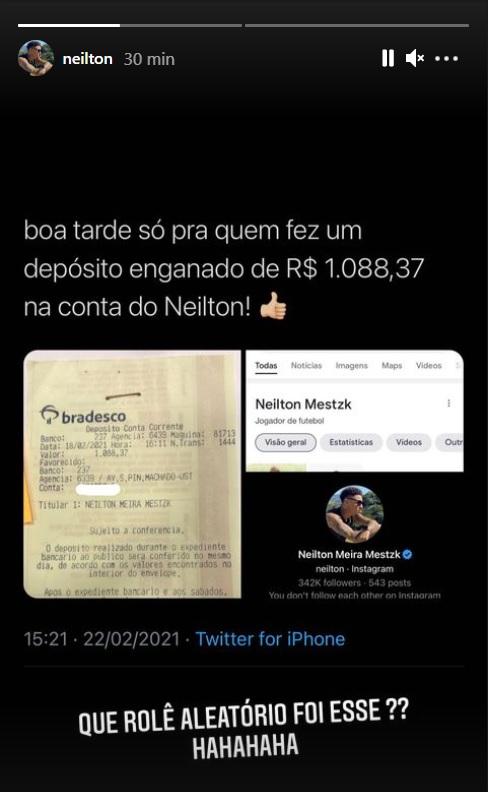 Postagem de Neilton, do Coritiba, sobre o depósito errado
