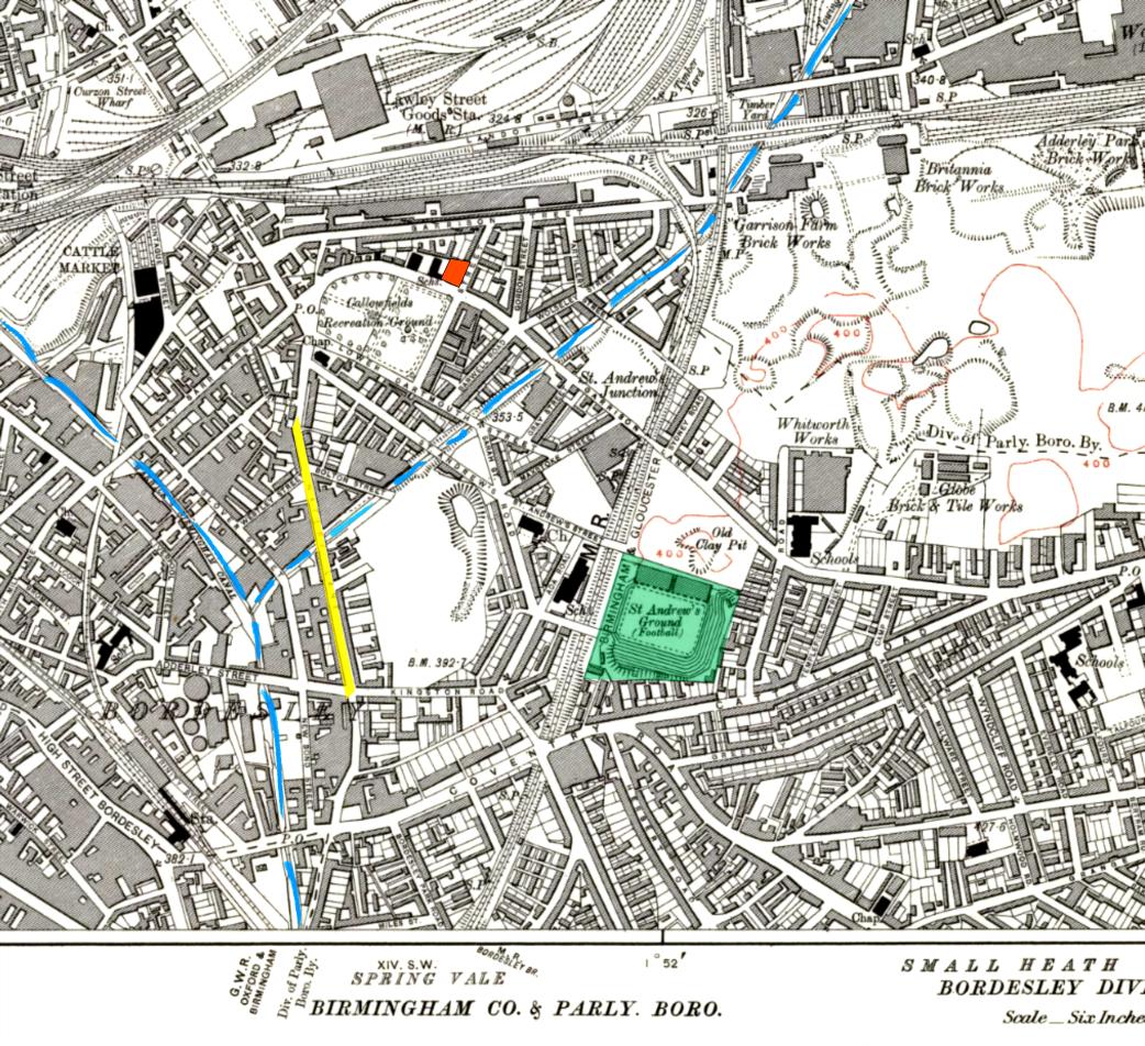 Mapa de Small Heath na década de 1910: o pub The Garrison (laranja), a   Watery Lane (amarelo), os canais (azul) e o estádio St. Andrew (verde).   Crédito: reprodução.
