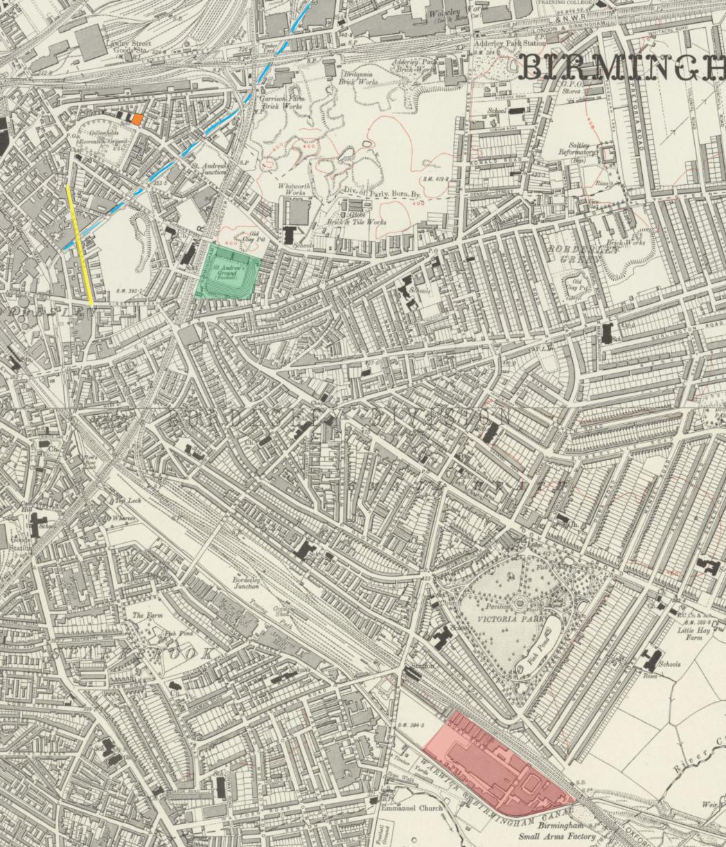 Mapa de Small Heath na década de 1910, com destaque para as instalações da fábrica da Birmingham Small Arms (BSA), em vermelho. Fonte: https://maps.nls.uk/view/101584672