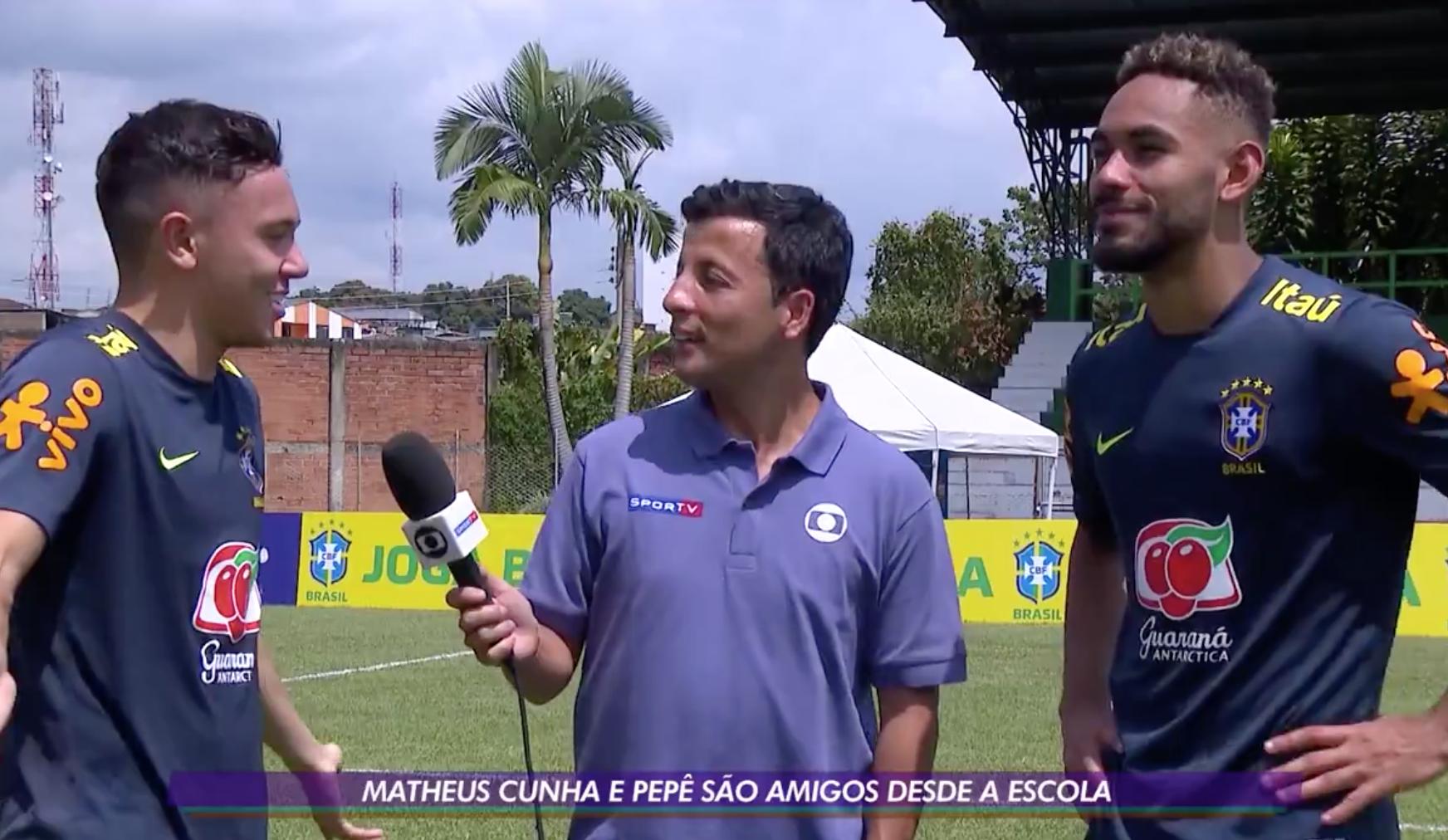 Pepê e Matheus Cunha em entrevista na seleção sub-23.