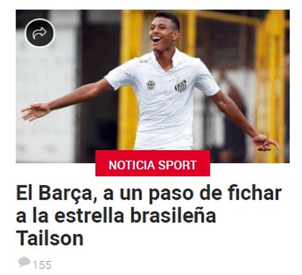 Tailson foi dado como reforço certo pelo jornal Sport, de Barcelona