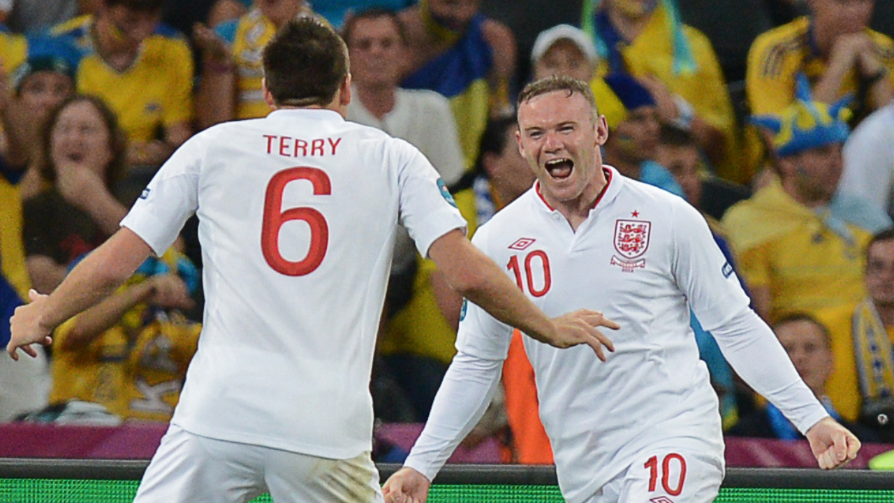 Rooney comemora pela Inglaterra. Foto: AFP