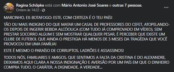 Publicação da parente de Maria Cristina, vítima fatal do atropelamento envolvendo Marcinho