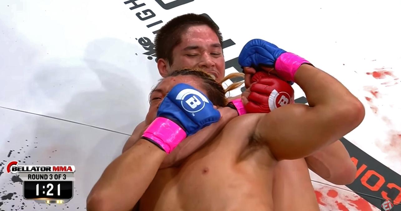 Goiti Yamauchi é experiente no jogo de chão. Foto: Reprodução/Bellator.