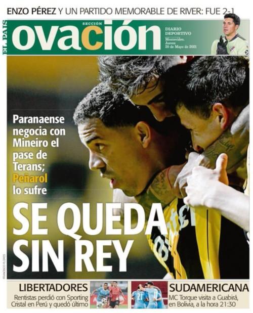 Capa do jornal uruguaio Ovación sobre a saída de Terans do Peñarol