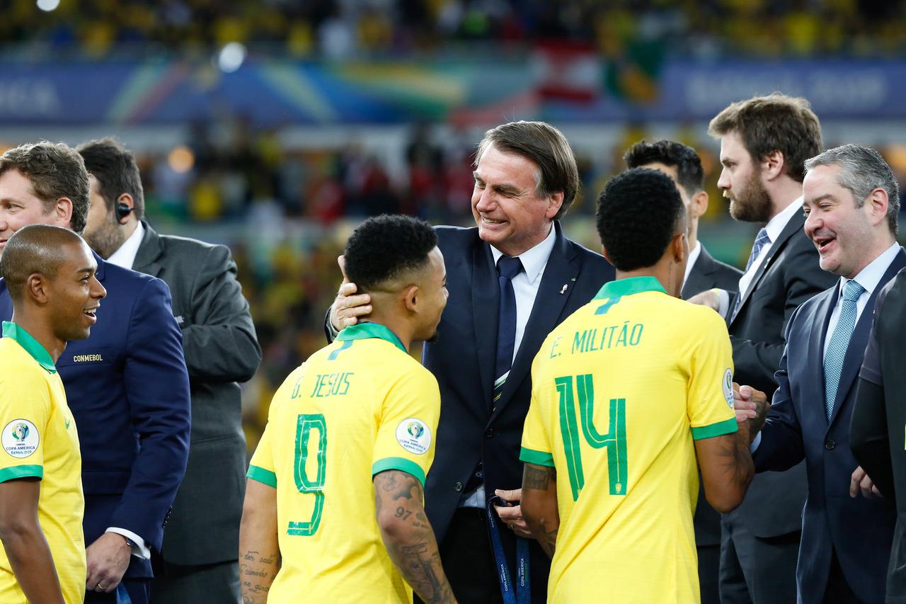 Bolsonaro e Caboclo na Copa América 2019. Foto: William Lucas/Copa América
