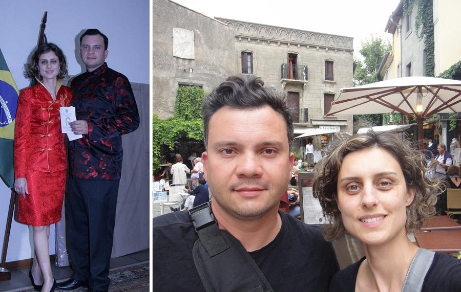 À esquerda, Clarissa e Alissom em 2011, após o casamento. À direita, o casal em férias na França, em 2014. Fotos: acervo pessoal.