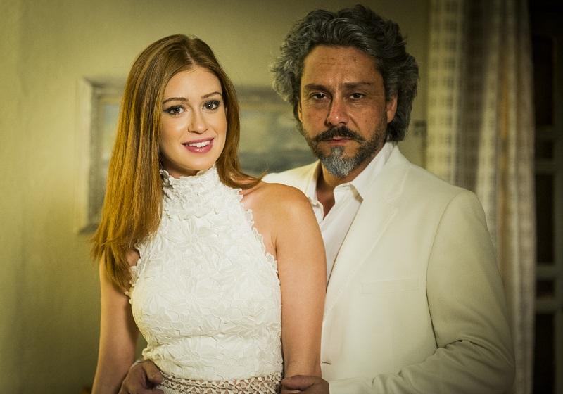 """Maria Ísis (Marina Ruy Barbosa) e o comendador José Alfredo (Alexandre Nero) na novela """"Império"""" (Foto: Globo/Divulgação)"""