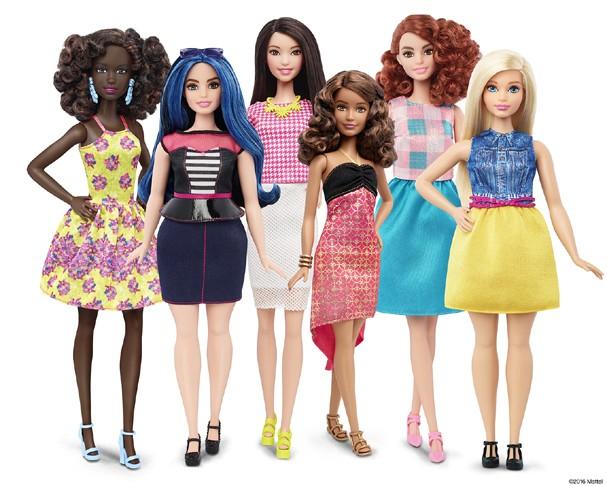 Nova coleção de Barbies fashionistas com padrões diferentes.
