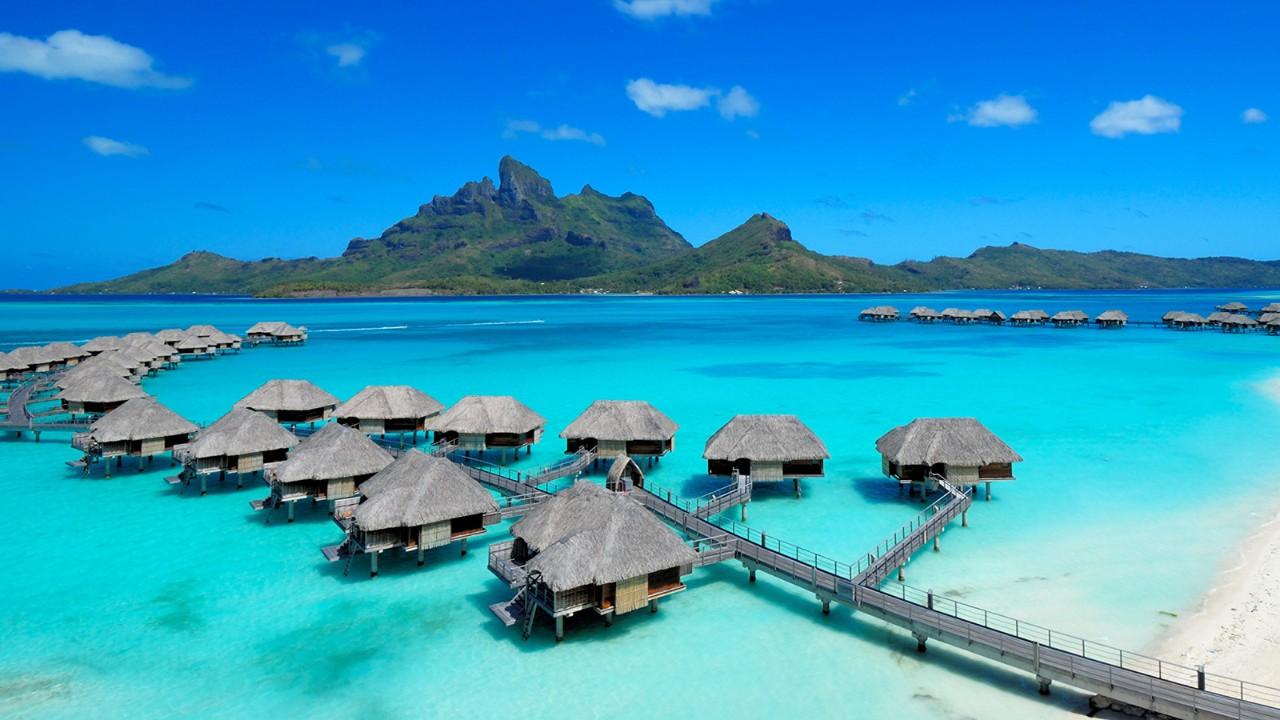 O cenário paradisíaco da ilha de Bora Bora, na Polinésia Francesa.
