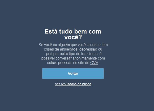 Mensagem da rede social Tumblr quando um internauta pesquisa sobre depressão ou suicídio na página (Foto: Reprodução do Tumblr)