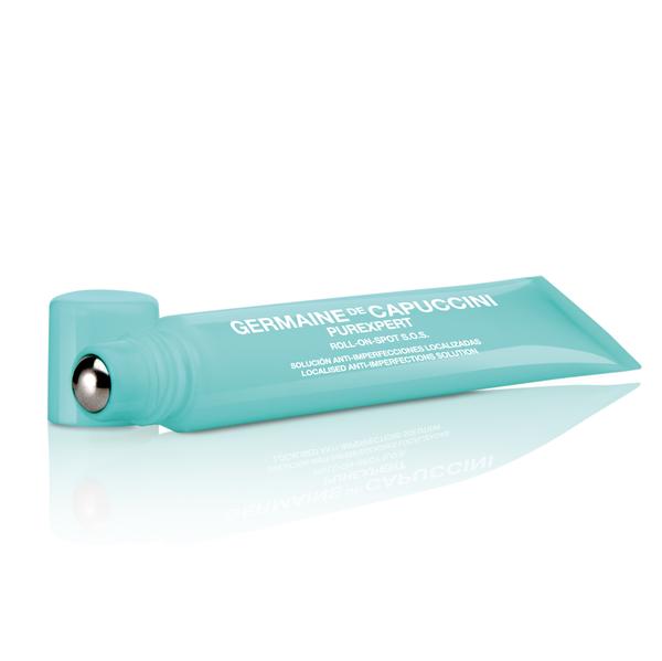 Gel Secativo Purexpert, da Germaine de Capuccini. O produto é um tratamento pontual para lesões de acne, com aplicador roll-on que maximiza sua ação e conta com ácido salicílico. Valor R$ 55. Foto: Divulgação