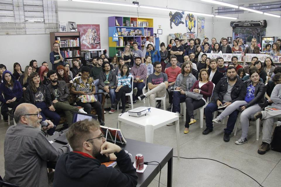 Lourenço Mutarelli durante evento na Itiban, em 2015. Foto: divulgação