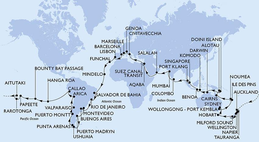 Itinerário e pontos de parada do cruzeiro que dá a volta ao mundo. Foto: Divulgação.