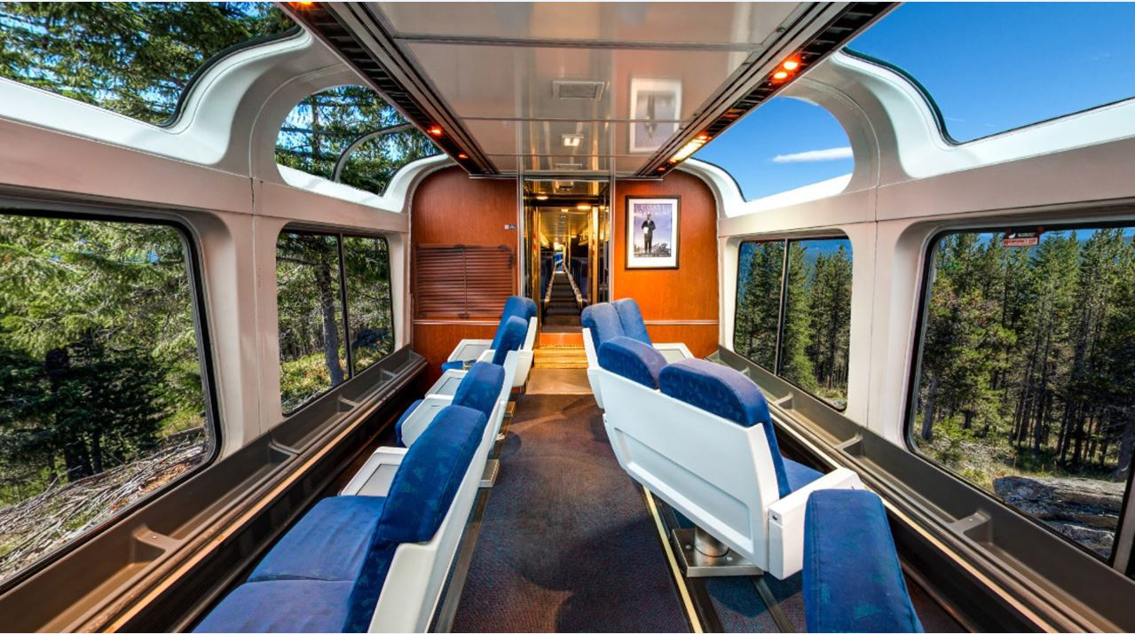Trem California Zephyr - Vagão de Observação. Foto: Divulgação